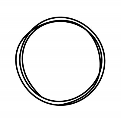 Obraz Abstract black circle as line drawing on white as background. Vector