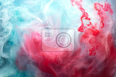 Obraz Abstract bright swirling smoke, valentines day background. Vibrant colorful fog, exciting perfume fragrance, hookah backdrop. Contrasting colors of love, passion, sensual sex