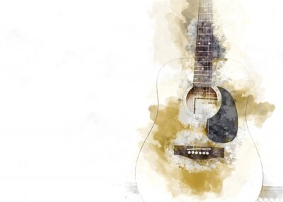 Obraz Abstract colorful Acoustic Guitar in the foreground on Watercolor illustration painting background.