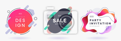 Obraz Abstract colorful badges set isolated on white background. Abstract dynamic geometric banners. Modern backdrop with place for text. Applicable for advertising, invitation, price tags. Vector eps 10.
