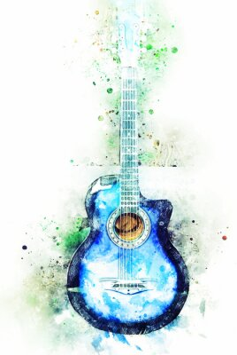 Obraz Abstract colorful blue shape on acoustic guitar in the foreground Close up on Watercolor illustration painting background.
