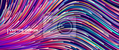 Obraz Abstract colorful lines vector background, stylish color background illustration