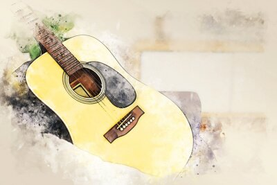 Obraz Abstract colorful shape on acoustic guitar in the foreground on watercolor painting background and digital illustration brush to art.