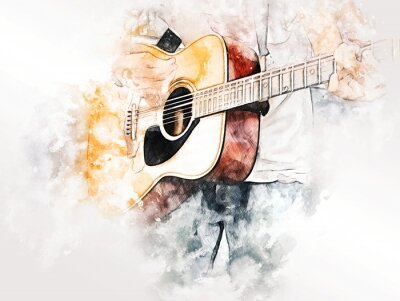 Obraz Abstract colorful shape on playing acoustic guitar on watercolor illustration painting background.