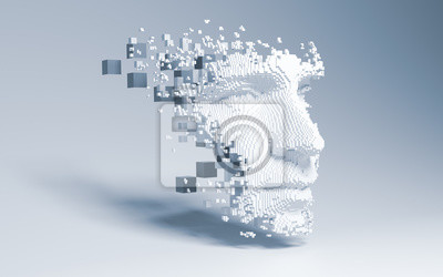 Obraz Abstract digital human face.  Artificial intelligence concept of big data or cyber security. 3D illustration