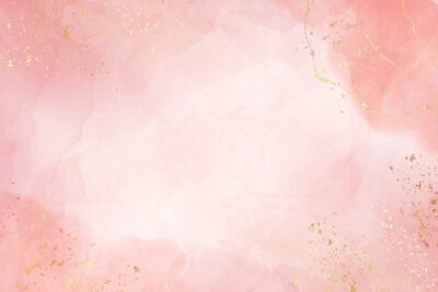 Obraz Abstract dusty blush liquid watercolor background with golden crackers. Pastel pink marble alcohol ink drawing effect. Vector illustration design template for wedding invitation