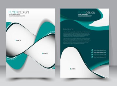 Obraz Abstract flyer design background. Brochure template. Can be used for magazine cover, business mockup, education, presentation, report. a4 size with editable elements. Green color.