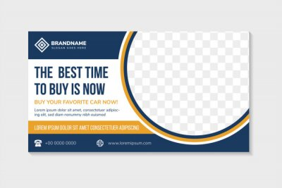 Obraz abstract flyer template design use a headline is the best time to buy car. Horizontal layout with space for photo collage on half circle shape. white background with blue orange colors on elements