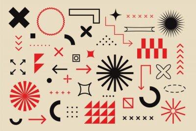 Obraz Abstract geometric elements bauhaus swiss style. Brutalism bold minimal geometry shapes, vector digital graphic design