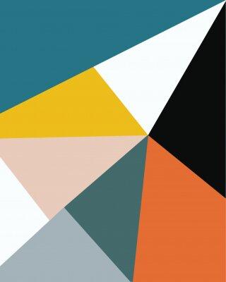 Obraz abstract geometric minimal art, memphis design nordic scandinavian style colorful geometry pattern