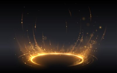 Obraz Abstract golden light circle effect