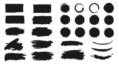 Obraz Abstract grunge paint brush stroke set. Graphic element design with ink splatter or splash, circle, line and frame. Creative vector shape or background art illustration template.