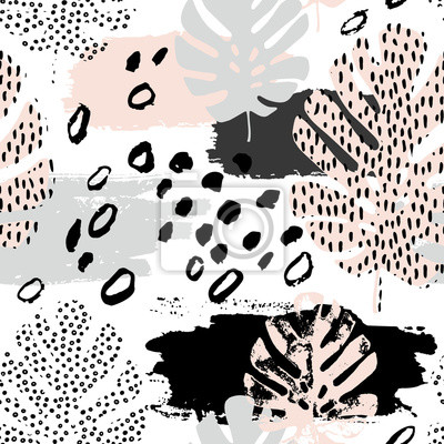Abstract grunge seamless pattern in scandinavian style