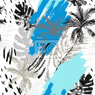 Abstract grunge summer seamless pattern.