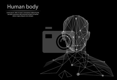 Obraz Abstract image human body in the form of lines and dots, consisting of triangles and geometric shapes. Low poly vector background.