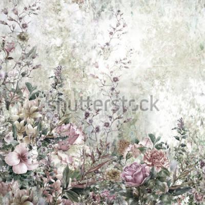Obraz Abstract kwiaty akwarela. Wiosna wielobarwne kwiaty