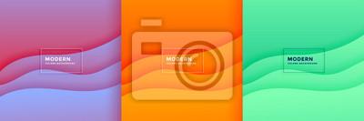Obraz abstract minimal wave papercut background set design