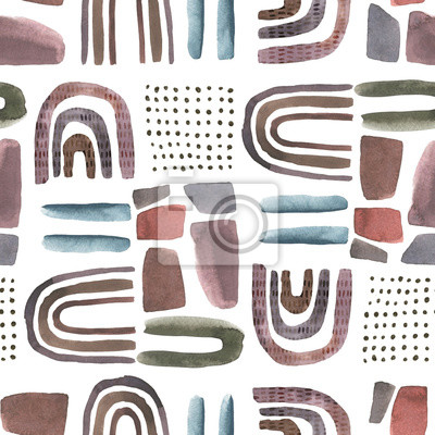 Abstract nordic print with geometric elements and  leaves. Watercolor seamless pattern. Hand drawn marble illustration. Mixed media background