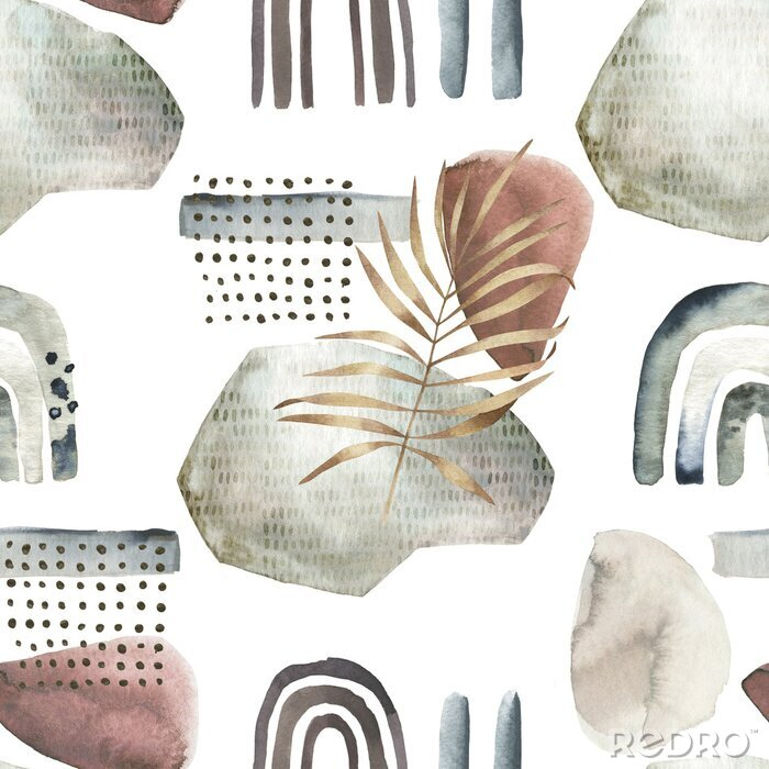 Obraz Abstract nordic print with geometric elements and  leaves. Watercolor seamless pattern. Hand drawn marble illustration. Mixed media background