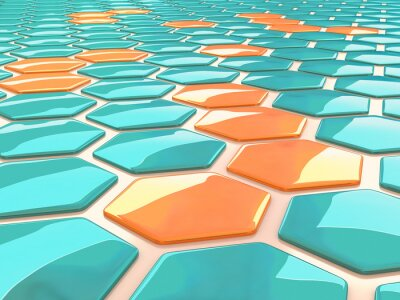 Obraz Abstract pattern of shiny hexagonal 3D shapes