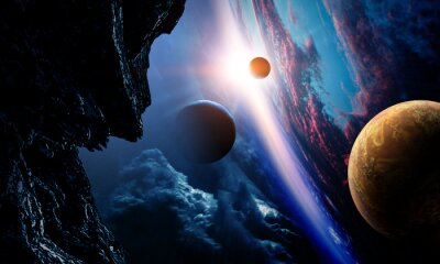 Obraz Abstract planets and space background