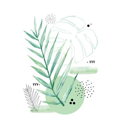 Obraz Abstract poster background minimal shapes, watercolor tropical leaf. Art print with doodles, line, blue texture. Tropical illustration for minimalism, hipster, scandinavian design,t-shirt print