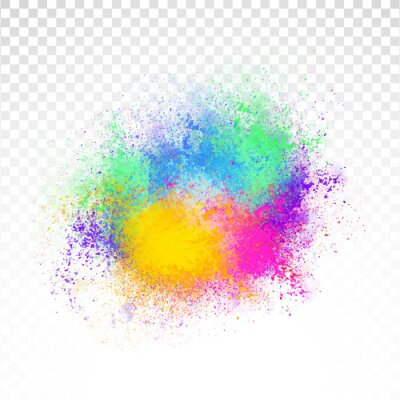 Obraz Abstract rainbow color splash on PNG background. Illustration of festival of colors with rainbow color powder.