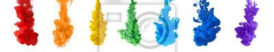 Obraz abstract rainbow color splash set