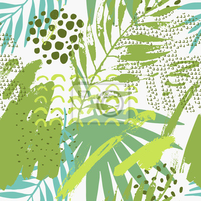 Abstract tropical drawing in shades of green colors.