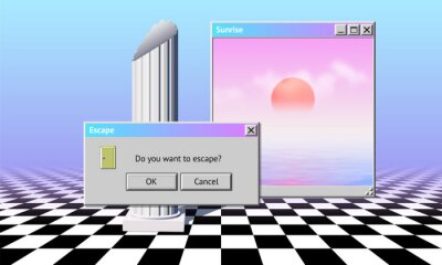 Obraz Abstract vaporwave aesthetics computer windows background with 90s style system message window, palm and checkered floor covered with pink and blue mist