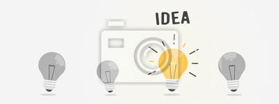 Obraz Abstract vector flat design lightbulb idea icon