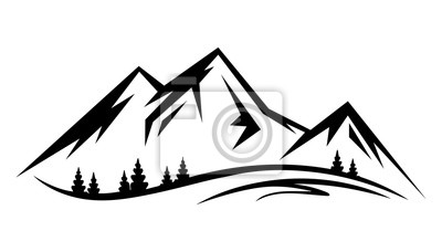 Obraz Abstract vector landscape nature or outdoor mountain view silhouette