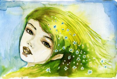 Obraz abstract watercolor illustration depicting a portrait of a woman