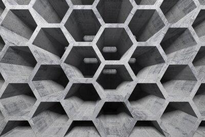 Obraz Abstract wnętrze z szarego betonu o strukturze plastra miodu