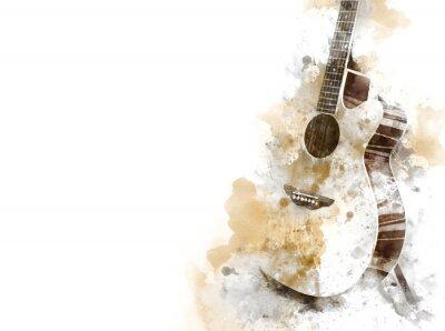 Obraz Abstrakcjonistyczna kolorowa gitara na pierwszym planie na akwareli tła i Cyfrowej ilustraci szczotkuje sztuka.