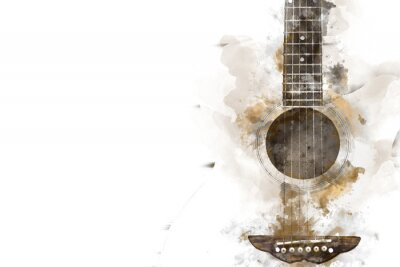 Obraz Abstrakcjonistyczna kolorowa gitara w przedpolu na akwarela obrazu tle i Cyfrowej ilustraci muśnięcie sztuka.