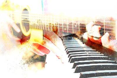 Obraz Abstrakcjonistyczna piękna bawić się gitara akustyczna i pianino na akwarela obrazu tle i Cyfrowej ilustraci szczotkujemy sztuka.