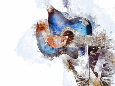 Obraz Abstrakcjonistyczna piękna bawić się gitara akustyczna na pierwszym planie na akwareli tła i Cyfrowej ilustraci szczotkuje sztuka.