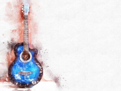 Obraz Abstrakcjonistyczna piękna gitara akustyczna w przedpolu na akwarela obrazu tle i Cyfrowej ilustraci muśnięcie sztuka.