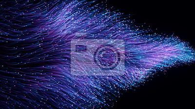 Obraz Abstrakcjonistyczne pomarańczowe cząsteczki światłowodu 3d ilustracja