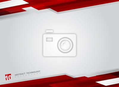Obraz Abstrakcjonistycznej technologii czerwonego ruchu tła błyszczący geometryczny ruch.