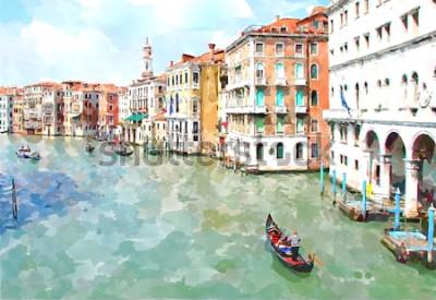 Obraz Abstrakcjonistyczny akwarela cyfrowy wytwarzający obraz główny wodny kanał, domy i gondole w Wenecja, Włochy. Akwarela Wenecji. Malarstwo w Wenecji. Miasto Wenecja. Wenecja we Włoszech. Kanał w Wenecj