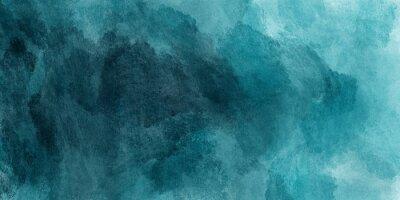 Obraz Abstrakcjonistyczny akwareli farby tło cyraneczka koloru błękitem i zielenią z ciekłą płynną teksturą dla tła, sztandar