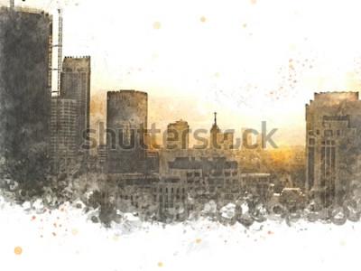 Obraz Abstrakcjonistyczny budynek w mieście na akwarela obrazu tle. Szczotka do ilustracji miasta na Digital do sztuki.