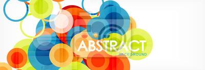 Obraz Abstrakcjonistyczny kolorowy geometryczny skład - stubarwny okręgu tło