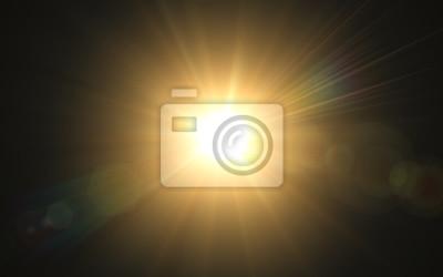 Obraz Abstrakcjonistyczny wizerunek oświetlenie raca Abstrakcjonistyczny słońce wybuch z cyfrowym obiektywu racy tłem Złocisty natura racy skutek