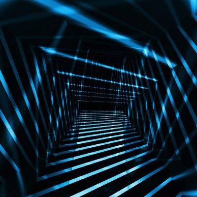 Obraz Abstrakcyjna ciemnym tle 3d wnętrze z nocnych wiązek światła niebieskiego