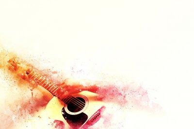 Obraz Abstrakcyjna gitarzysta na pierwszym planie. Zamknij się, Farba Akwarele