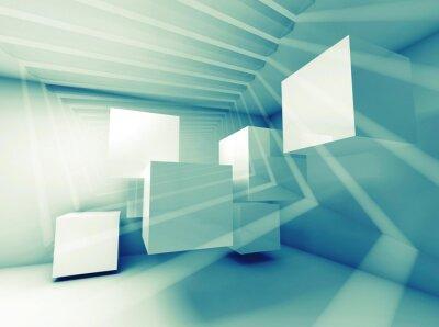Obraz Abstrakcyjna niebieskie zielone wnętrze z kostkami latających i wiązek światła
