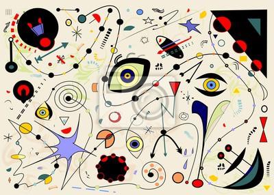 Obraz Abstrakcyjne białe tło poziome, zainspirowany surrealistycznym malarzem